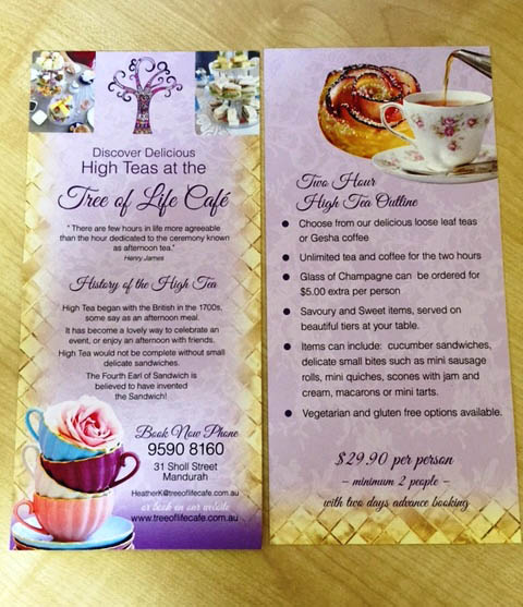 High Tea Menus by G Force Printing
