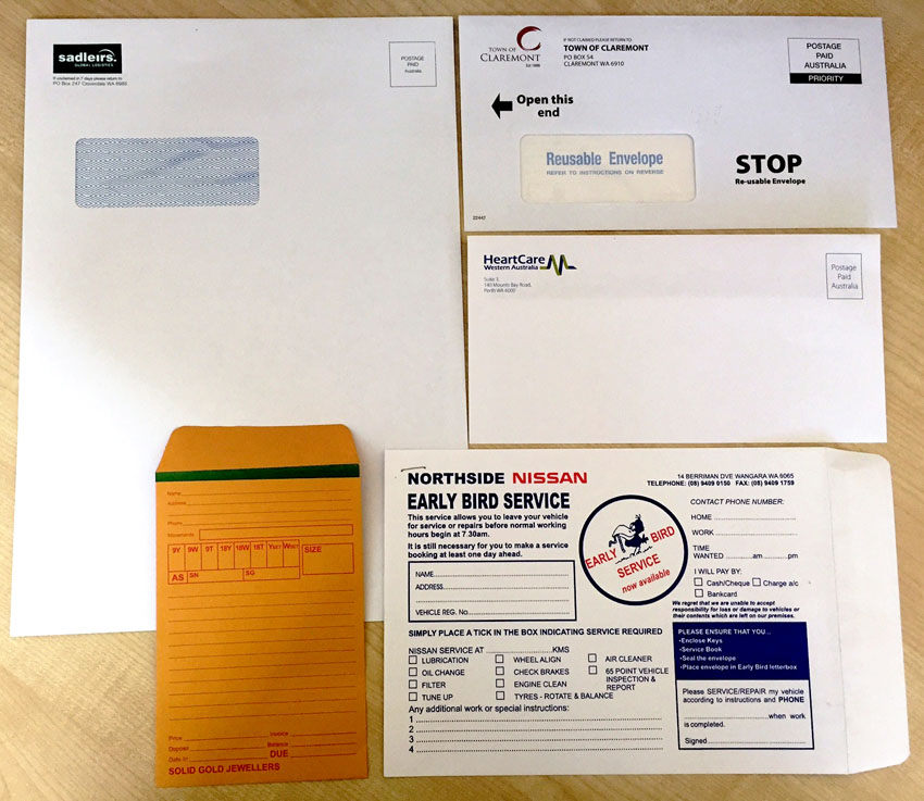 Envelope Printing Examples by G Force Printing Perth