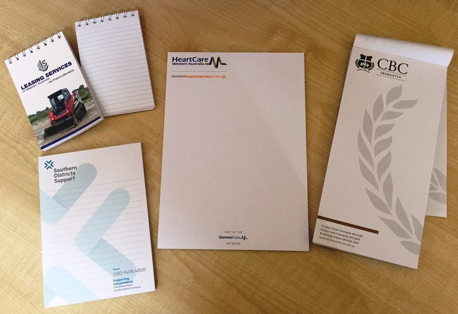 Custom Notepads Printed by G Force Printing Perth