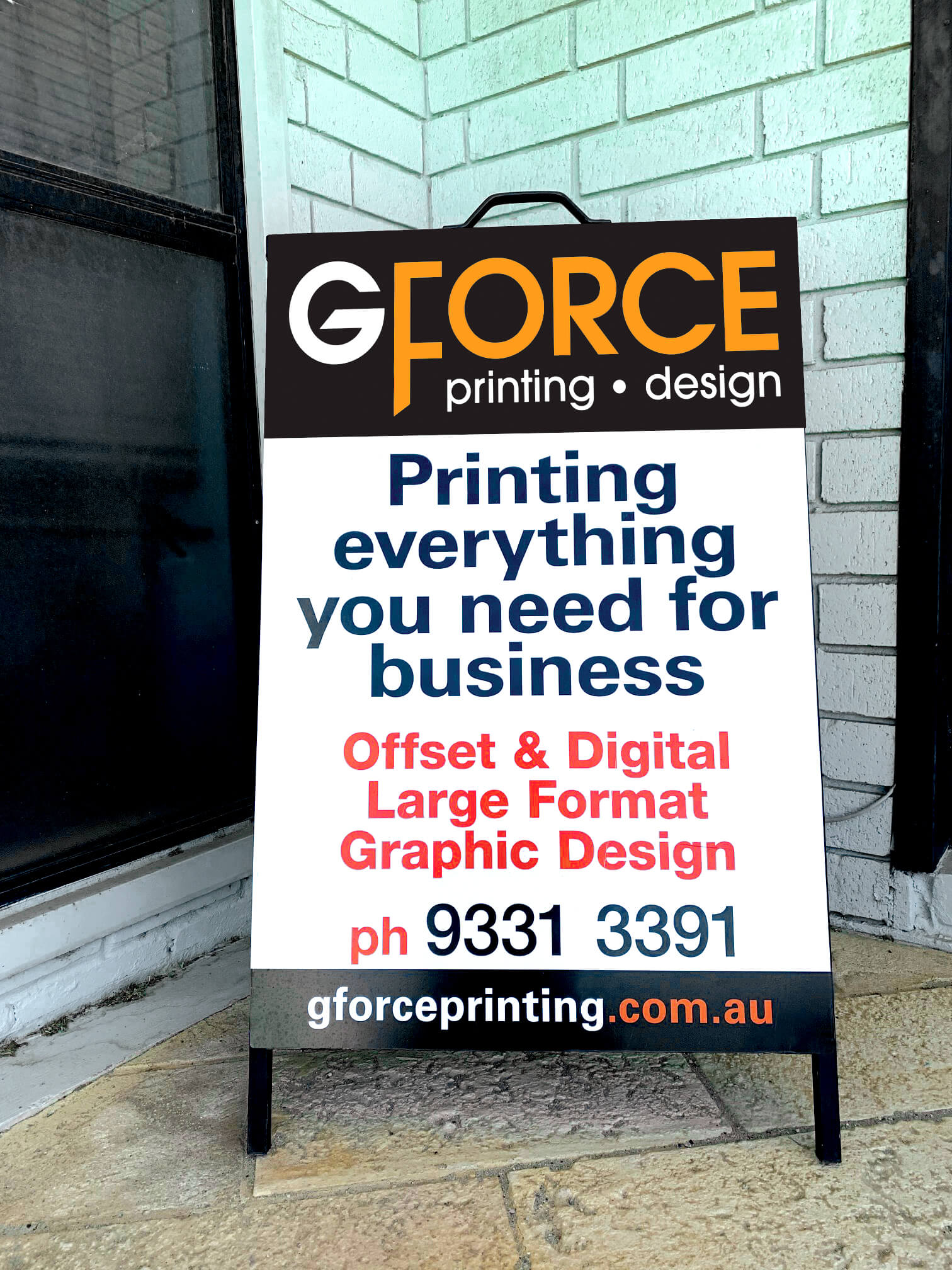 G Force A Frame Sign