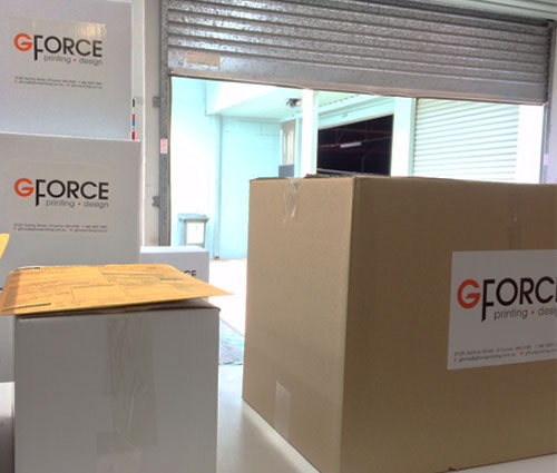 G Force Printing Dispatch Area - Print jobs boxed ready for delivery