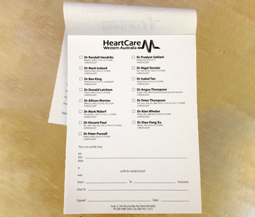 A6 Printed Unfit for Work Pad – HealthCare Western Australia
