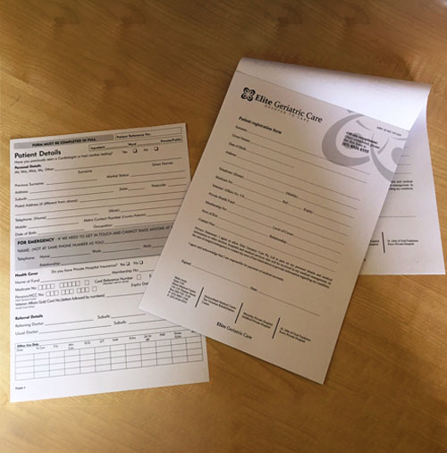 New Patient Forms Custom Printed by G Force Printing Perth