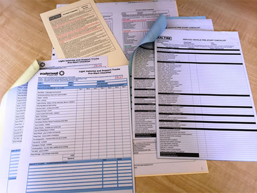 Custom Printed Pre Start Checklist by G Force Printing Perth