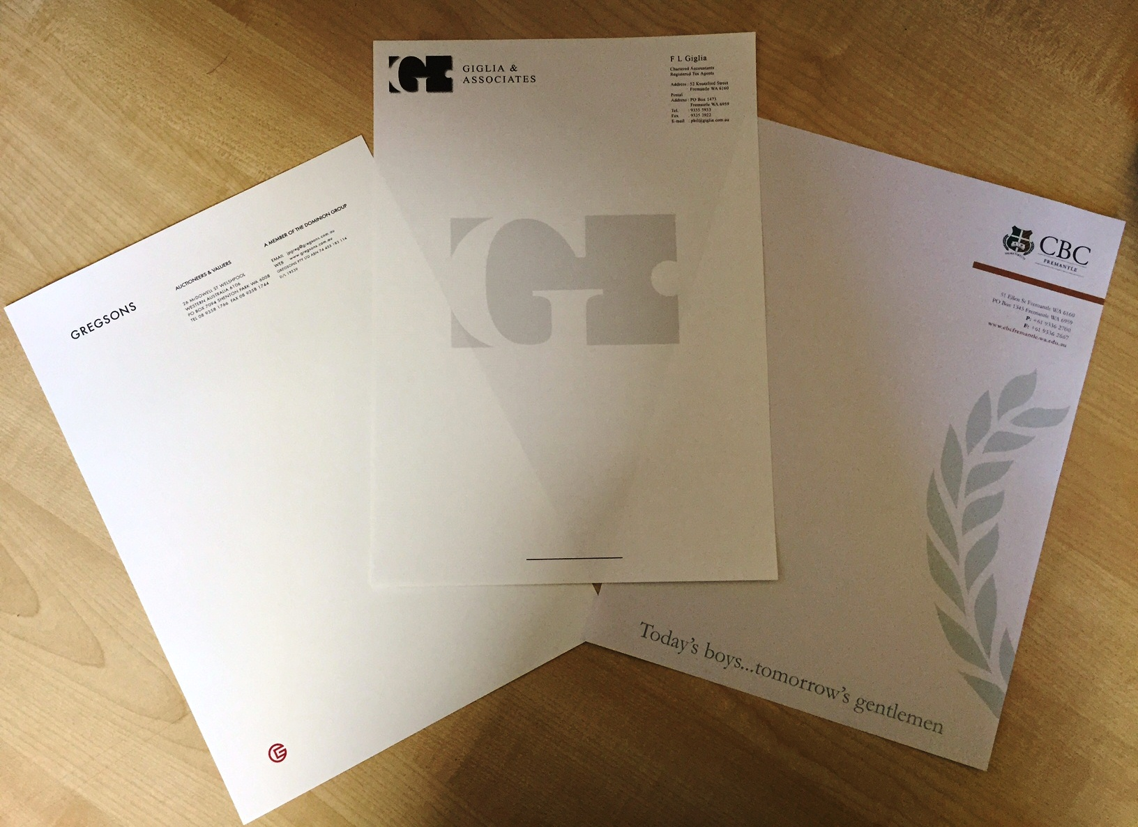 Specialty Letterhead Printing Samples – G Force Printing